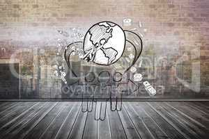 Composite image of global community doodle