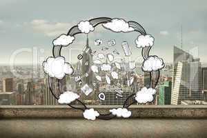 Composite image of cloud computing doodles