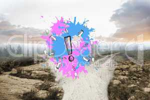 Composite image of exclamation mark on paint splashes