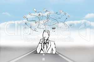 Composite image of thinking businessman doodle