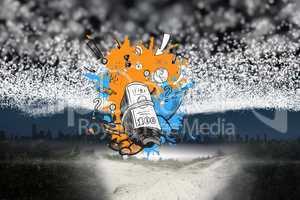Composite image of profit concept on paint splashes