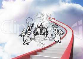 Composite image of angel and devil doodle