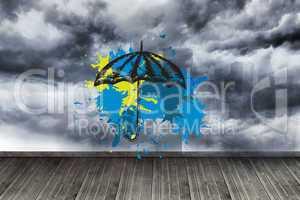 Composite image of umbrella on paint splashes