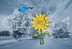 Composite image of success sunflower doodle