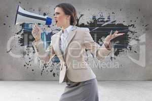 Composite image of furious stylish brown haired businesswoman sh