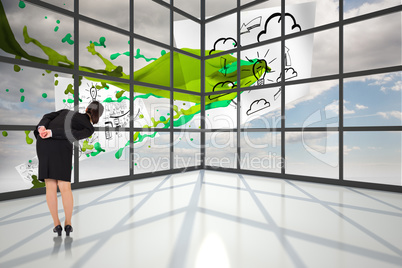 Composite image of businesswoman bending