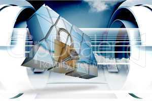Composite image of lock and key on abstract screen