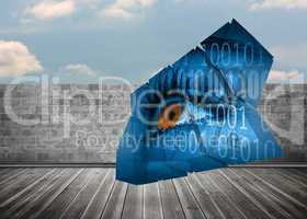 Composite image of eye and binary code on abstract screen