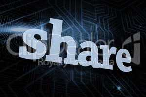 Share against futuristic black and blue background