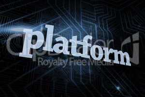 Platform against futuristic black and blue background
