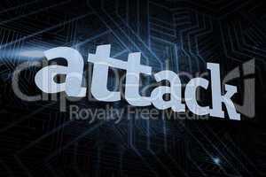 Attack against futuristic black and blue background