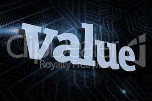 Value against futuristic black and blue background