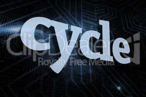 Cycle against futuristic black and blue background