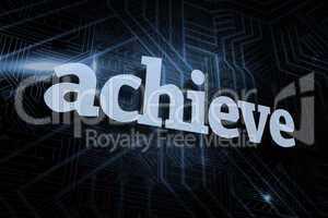 Achieve against futuristic black and blue background