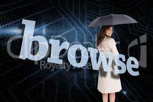 Businesswoman holding umbrella behind the word browse