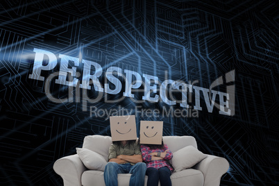 Perspective against futuristic black and blue background