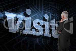 Visit against futuristic black and blue background