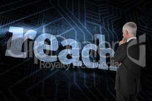 Reach against futuristic black and blue background