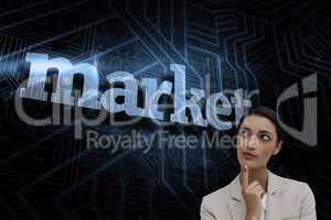 Market against futuristic black and blue background