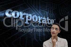 Corporate against futuristic black and blue background
