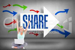 Share against arrows pointing