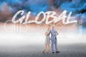 Global against cloudy landscape background
