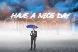 Have a nice day against cloudy landscape background
