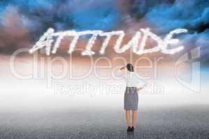 Attitude against cloudy landscape background
