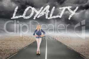 Loyalty against misty brown landscape with street