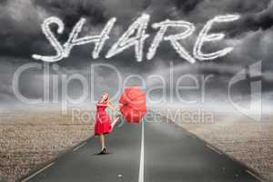 Share against misty brown landscape with street