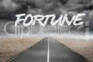Fortune against misty brown landscape with street