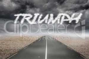 Triumph against misty brown landscape with street