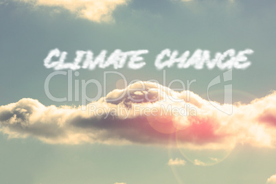 Climate change against bright blue sky with cloud