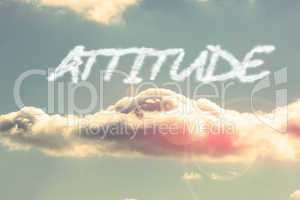Attitude against bright blue sky with cloud