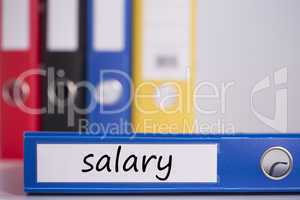 Salary on blue business binder