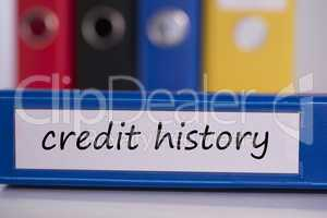 Credit history on blue business binder
