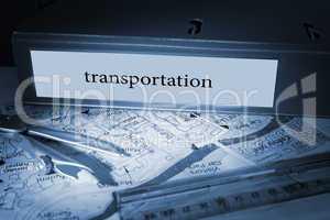 Transportation on blue business binder
