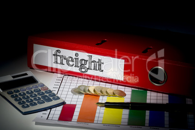 Freight on red business binder