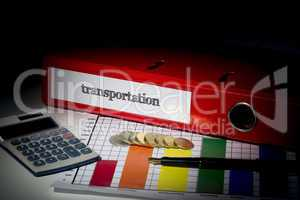 Transportation on red business binder