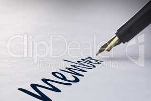 Fountain pen writing Member