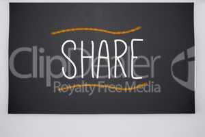 Share written on big blackboard