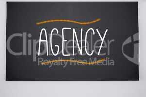 Agency written on big blackboard