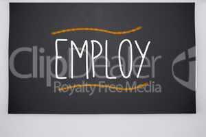 Employ written on big blackboard