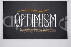 Optimism written on big blackboard