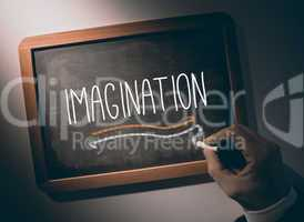 Hand writing Imagination on chalkboard