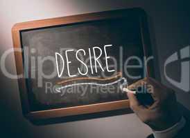 Hand writing Desire on chalkboard