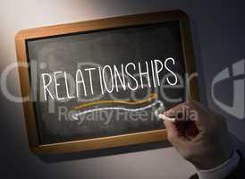 Hand writing Relationships on chalkboard