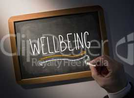 Hand writing Wellbeing on chalkboard