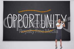 Shocked businesswoman with binoculars against the word opportuni