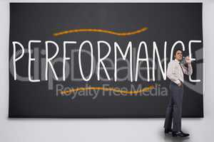 Businessman turning away from the word performance